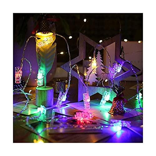 1,5 m, 3 m, 6 m, soporte para clip de fotos, luces LED 10, 20, 40 LED, para bodas, fiestas, hogar, día de la madre, iluminación de la lámpara de decoración (color: multicolor, tamaño: USB) SKYJIE