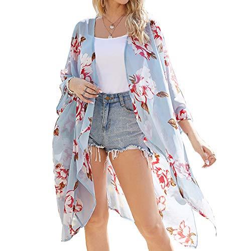 Kimono para Mujer - Cárdigan Largo Kimono, Floral Mujeres Kimono Dormir Bata Verano Satén Suave y Ligero (Azul Claro, S)