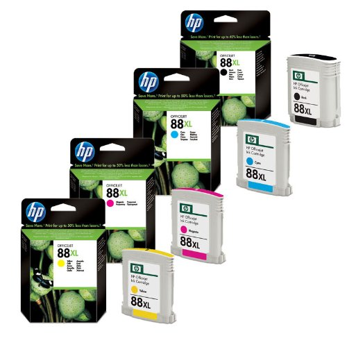 4x Original Tintenpatrone für HP Officejet PRO K 5300, 5400, HP 88XL - 1x BLACK, 1x CYAN, 1x MAGENTA, 1x YELLOW