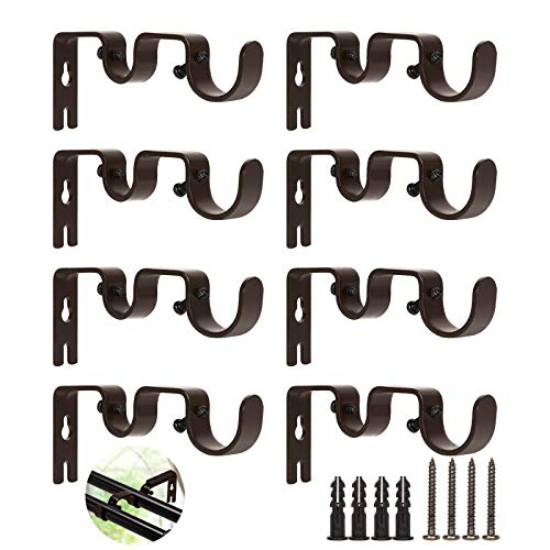 """8 PCS Brown Curtain Rod Bracket, Wall Mount Double Curtain Rod Hanging Brackets 1""""and 5/8"""" Rod, Adjustable Double Rod Holders Hardware for Window, Bedroom, Home Curtain rods,Drapery Rod"""