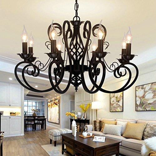AMOS Kerze Kronleuchter Schmiedeeisen schwarz europäischen Stil Wohnzimmer minimalistischen 6/8 bar Tisch Studie Lampe Beleuchtung (größe : 68 * 39cm)