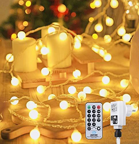 100 LED Lichterkette Außen,13 Meter Strombetrieben Lichterkette Innen Kugel mit Fernbedienung Timer, IP65 Wasserdicht Lichterkette Warmweiße für Party Weihnachten Garten und Innendeko