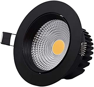 YBright Negro LED Downlight ahuecado COB Spotlight 40 de haz Ángulo de rotación ajustable de techo for fuego de la lámpara empotrada de aluminio fundido Radiador Caliente 3000K Luz for Baño Cocina Sal