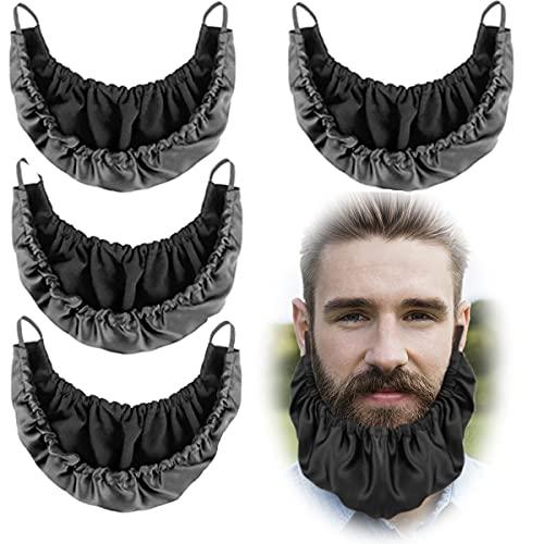 4 Pack Beard Bandana, Silk Beard Bonnet for Men Beard Bib, Adjustable Double Layer Facial Hair Beard Apron Guard Bonnet Rag Beard Gains (Black Double Layer Design)