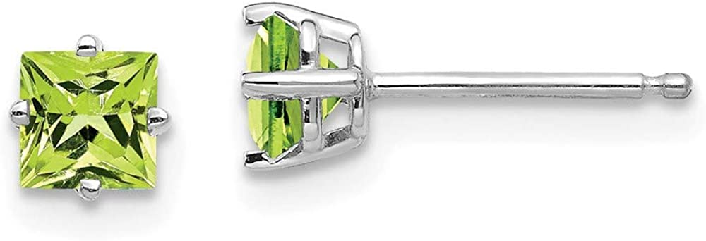 14k White Gold 4mm Square Step Cut Green Peridot Post Stud Earrings Birthstone August Gemstone Fine Jewelry For Women Gifts For Her