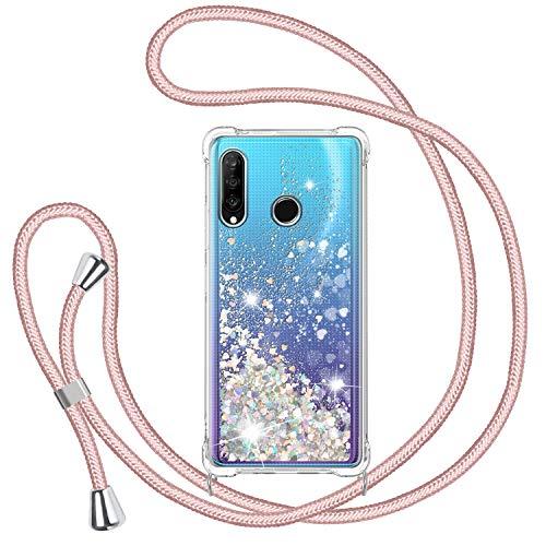 TUUT Funda Glitter Liquida con Cuerda para Huawei P30 Lite, Glitter Cristal Suave Silicona TPU Bumper Protector Carcasa, Brillante Arena Movediza con Colgante Ajustable Cordón Case -Oro Rosa
