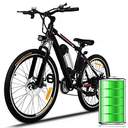 E-Bike Mountain Bike Bici Elettrica con Cambio Shimano a 21 velocità, 250W, 8AH, Batteria agli ioni di Litio 36V, 26', Luce per City Bike (Nero-Rosso)