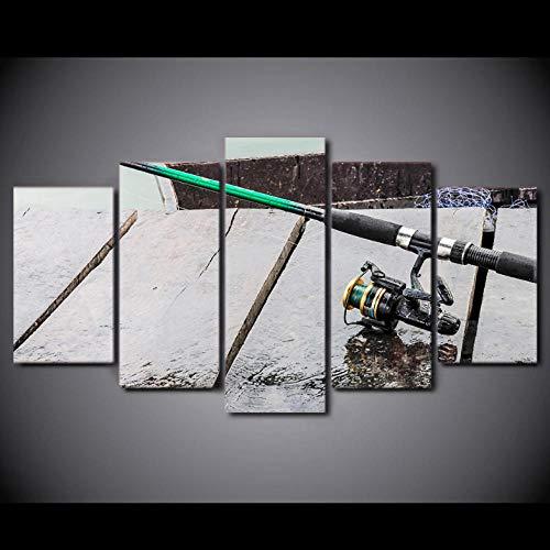Cyalla Malerei Rahmen Modulare Wandbilder Hd Gedruckt Poster 5 Stücke Leinwand Kunst Maritime Fischerboot Dekoration Typ Drucke Auf Leinwand 200X100Cm