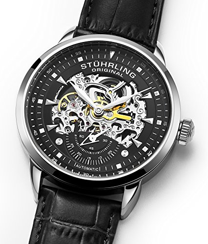 Stuhrling Original Mens Watch-Automatic Watch Skeleton Watches for Men - Black Leather Watch Strap Mechanical Watch Silver Executive Watch Collection (Black/Black)