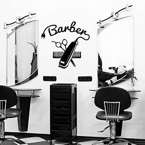 SUPWALS Wandtattoos Rasiermesser Und Schere Friseure Werkzeuge Wandaufkleber Aufkleber Friseursalon Aufkleber Haarschnitt Raum Wandkunst Dekoration 60X57Cm