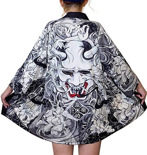 DOVWOER Damen Lose Kimono mit Japanisches Muster 3/4 Arm Cover up Leichte Jacke EU 34-46