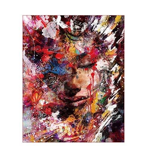 Geiqianjiumai geschilderd frameloos schilderij van het zwakke gezichtsbeeld doek bruiloft kunst-decoratief geschenk
