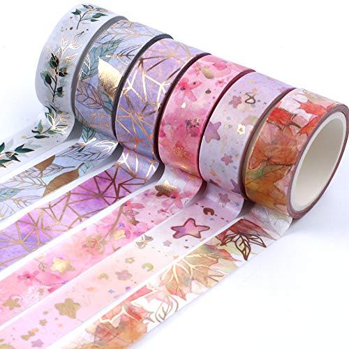 6 Rollen Washi Tape Set, Dekorband Tape Goldfolie Flower Making Scrapbooking Tape für DIY Basteln und Geschenkverpackung Festivals Dekoration Office Party Supplies