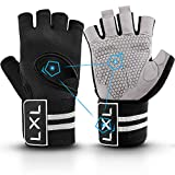 [Latest 2021] Workout Gloves Weight Lifting Gym Gloves with Wrist Wrap Support for Men Women, Full Palm Protection, for Weightlifting, Training, Fitness, Exercise Hanging, Pull ups