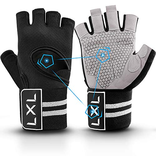 [Latest 2021] Breathable Workout Gloves Weight Lifting Gym Gloves with Wrist Wrap Support for Men Women, Full Palm Protection, for Weightlifting, Training, Fitness, Exercise Hanging, Pull ups