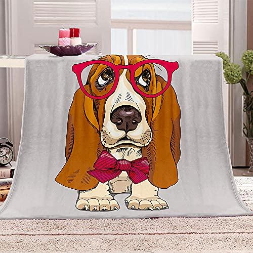 Mantas para Sofa De Franela 3D Perro con Gafas Animal Manta con Estampados para niños Adultos Manta de Microfibra Suave cálida para Cama sofá y Viaje 100x130cm