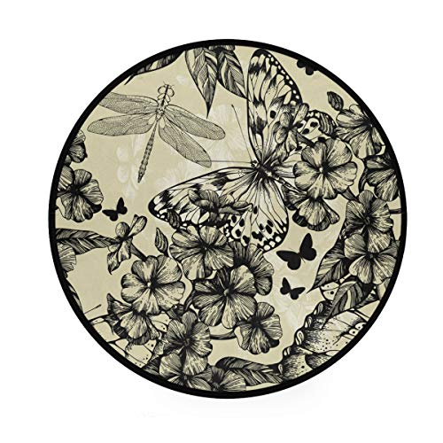 MONTOJ Blooming Phlox Teppich Schmetterlinge und Drache, rund, rutschfest, für Wohnzimmer, Schlafzimmer