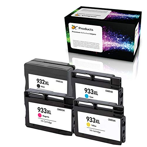 OCProducts Refilled Ink Cartridge Replacement for HP 932XL 933XL for HP Officejet 6100 6600 6700 7110 7610 7612 (1 Black 1 Cyan 1 Magenta 1 Yellow)