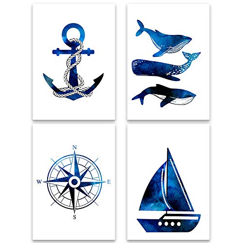 Lilcastle® Kinder Poster   4er Set Bilder Kinderzimmer Deko für Junge DIN A4   Maritim Segeln - Wal Anker Schiff Kompass   Meer Seemann Wandbild Babyzimmer Spielzimmer Deko Plakate