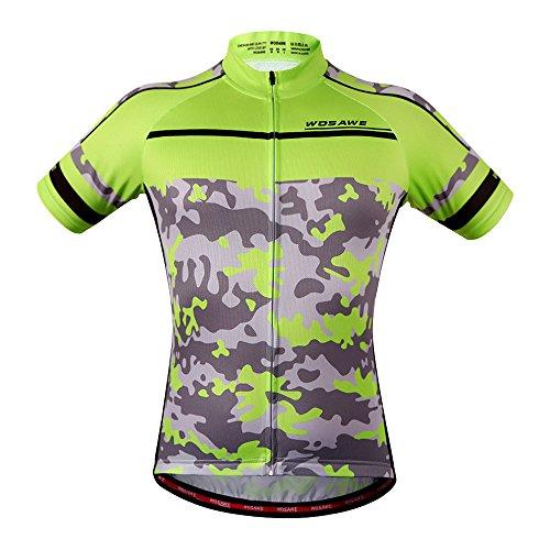 Wosawe Herren Radsport-Shorts, atmungsaktiv, kurze Ärmel, gepolstert, schnelltrocknend L Jersey_camouflage