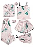 SheIn Women's 7pcs Pajama Set Cami Pjs with Shirt and Eye Mask Pink Tropical X-Large