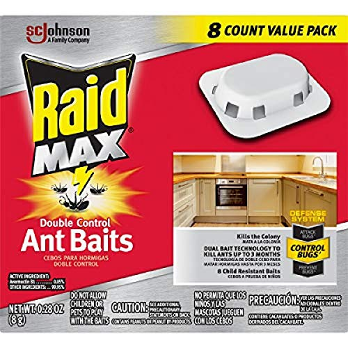 Raid Max Double Control Ant Baits, 0.28 oz, 8 CT (1) (Best Way To Kill Ant Hills)