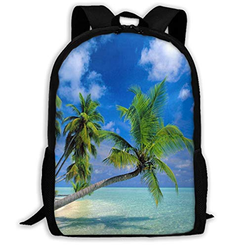 TTmom Schulrucksack,Schüler Bag,Rucksack Damen Herren Backpack Maldives Beach Zipper School Bookbag Daypack Travel Rucksack Gym Bag for Man Women