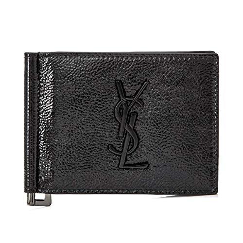 4 SAINT LAURENT PARIS サンローラン パリ ブラック パテントレザー マネークリップ 財布 カードケース [48...
