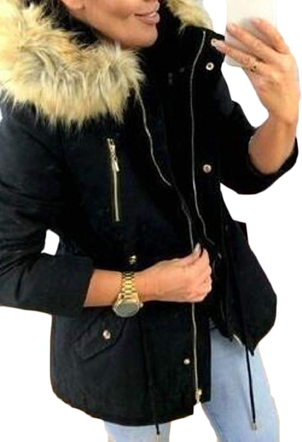 XQS Womens Hooded Warm Winter Coats Faux Fur Lined Parkas Outdoor