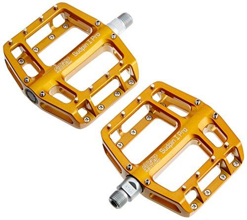NC-17 Sudpin I Pro Aluminium Plattform Pedale / Fahrrad Pedale MTB / Mountainbike Pedal / BMX Pedal / Kugellager + Cr-Mo Achse / inklusiv Ersatzpins, Gold