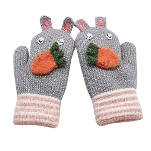 YXIU Kinder Handschuhe Winter Fäustlinge Fausthandschuhe Weihnachtshandschuhe Outdoor Warm Strickhandschuh für 2-5 Jahre alt Baby (Grau)