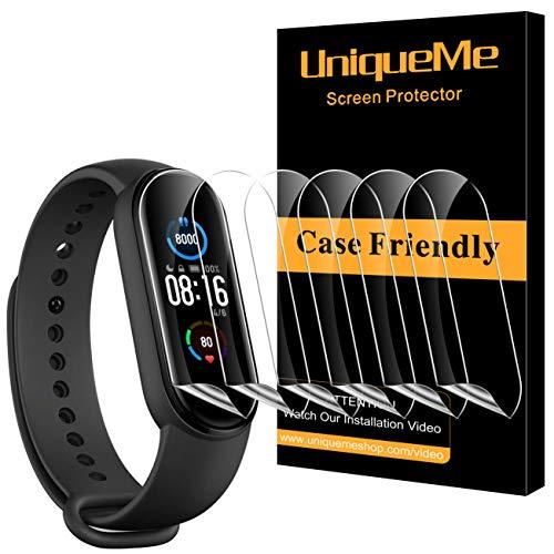 UniqueMe [6 Pack Protector de Pantalla para Xiaomi Mi Band 5, [Fácil instalación] [Película Flexible] Soft HD TPU Clear para Xiaomi Mi Band 5