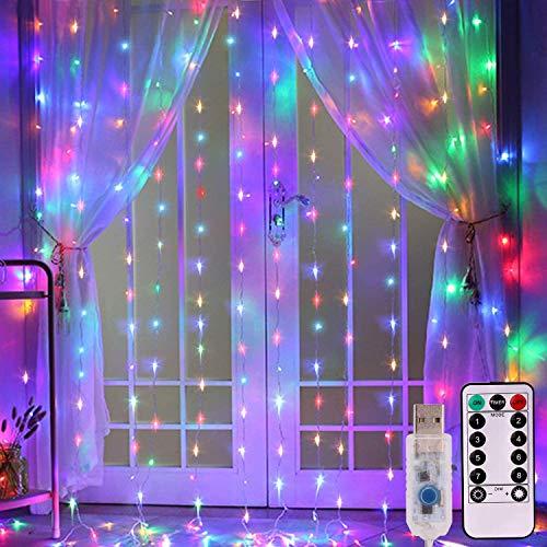 300 luci a LED USB alimentate con telecomando, 8 impostazioni, luci scintillanti per camera da letto, matrimoni, decorazioni da parete (20,8 x 20,8 m, multicolore)