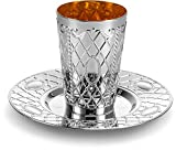[6 Pack] Laura Stein Premium Designed Disposable, Silver-like, Plastic Silver Kiddush Wine Drinking Cup With Matching Tray For Wedding, Passover, Shabbat, Havdalah, Or Kids.