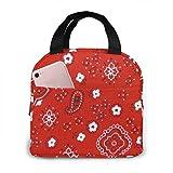 shenguang Bandana Prints Red Lunch Box Isolierte Lunch-Tasche Große Kühltasche für Männer, Frauen, Doppeldeck