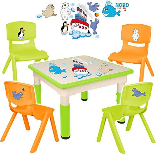 alles-meine.de GmbH Sitzgruppe für Kinder - Tisch + 4 Kinderstühle - Größen & Motiv & Farbwahl - Schiff & Meeres Tiere / hell grün - höhenverstellbar - 1 bis 8 Jahre - Plastik - ..