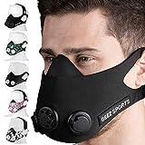 Geez Trainingsmaske für Ausdauertraining inkl. Wiederstandskappen für 6 Intensitätsstufen (Total Black)
