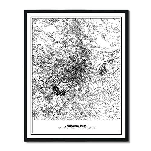 Preisvergleich Produktbild Susie Arts Poster,  ungerahmt,  Jerusalem,  Israel,  Metropolitan,  Stadtansicht,  abstrakte Straßenkarte,  Kunstdruck,  Wanddekoration,  V381