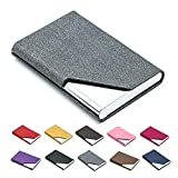 Business Name Card Holder Luxury PU Leather & Stainless Steel Multi Card Case,Business Name Card Holder Wallet...