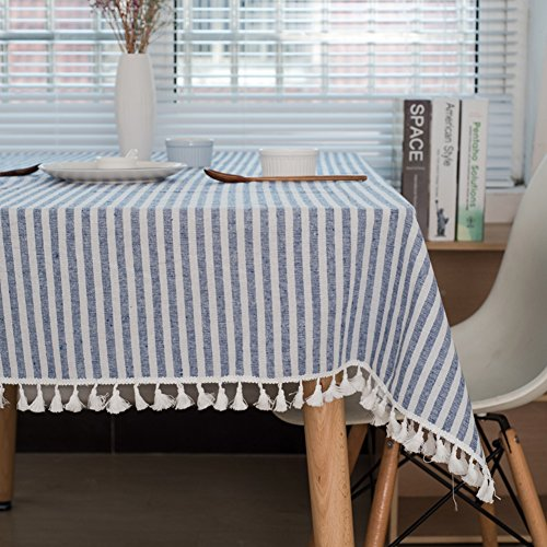 ColorBird Stripe Tassel Tablecloth Cotton Linen Dust-proof Table Cover for Kitchen Dinning Tabletop Decoration (Rectangle/Oblong, 55 x 86Inch, Blue)