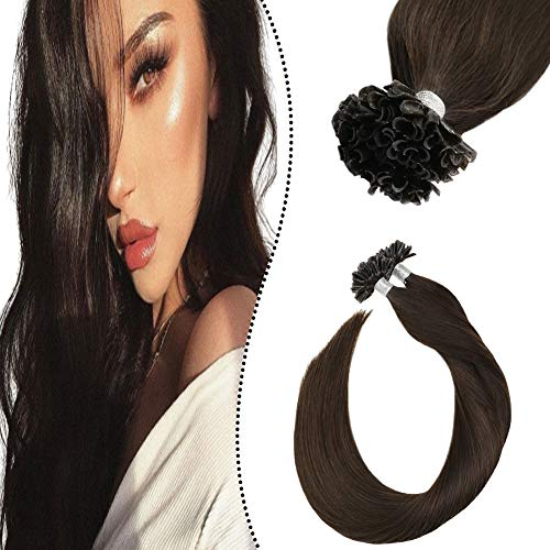 Ugeat 18 Pouce Brun Fonce U Tips Extension Cheveux Humain Keratine Bresiliens 50GR Nail Tip Human Hair in Keratine Lisse Droit 50Brin/Set