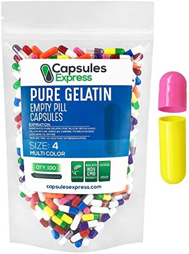 XPRS Nutra Size 4 Empty Capsules 100 Count Colored Empty Gelatin Capsules Capsules Express Empty product image