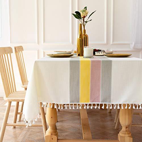 Lanqinglv Quasten Weiß Tischdecke Abwaschbar 140x200cm Rechteckig Bunt Streifen Baumwolle und Leinen Tischtuch Gartentischdecke Couchtisch Elegant und Vintage