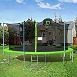 1000 LBS 16FT Trampoline with Safety Enclosure Net, Fitness Trampoline,Basketball Hoop, Spring Pad, Ladder, Combo Bounce Jump Trampoline, Outdoor Trampoline for Kids, Adults (Green)