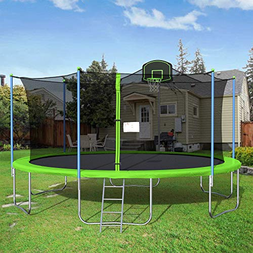 Awlstar 16FT Outdoor Trampoline for Kids and Adults with Safety Enclosure Net, Basketball Hoop and Ladder (Green)