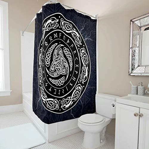 Firelife Wikinger Odin Drache Duschvorhang Anti-Schimmel Wasserdicht Waschbar Polyester Badewanne Vorhänge mit Haken