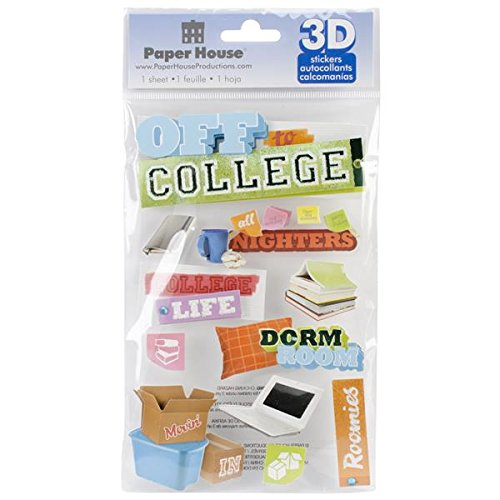 Paper House Productions STDM-0190E 3D Cardstock Stickers, Off to College