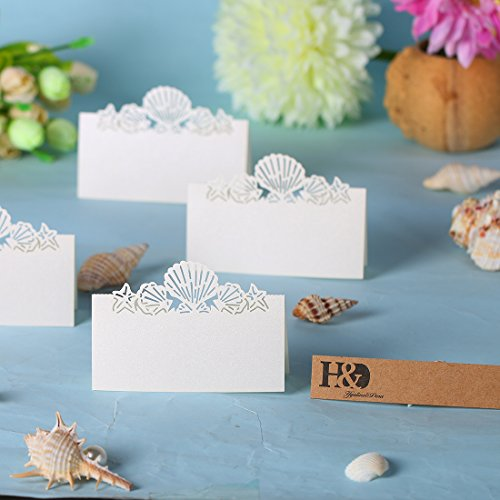 60X Pierced Laser Cut Shell Paper Crafts Wedding Place Card Holder Invitation Card Decorations