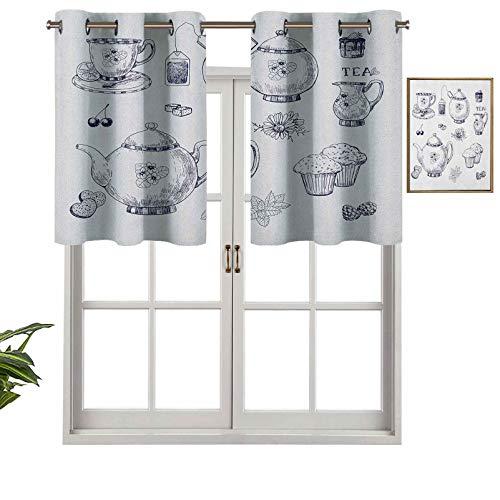 Hiiiman Cortinas opacas con ojales, cortinas cortas, con cenefa dibujadas a mano, tazas y magdalenas y bolsas, tradición inglesa, juego de 2, cortinas de cocina de 137 x 91 cm para sala de estar
