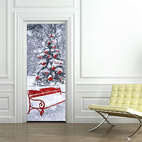 YSJHPC 3D-Türaufkleber-Tür-Wand-Papier-Wandbild, Winterlandschaft Weihnachtsbaum 77*200CM PVC-wasserdichte selbstklebende -Tür-Wand-Tapete-Kunst-dekorative Wand-Abziehbilder für für heim schlafzimmer-